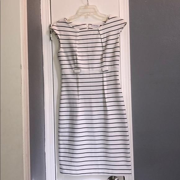 Calvin Klein Dresses & Skirts - Calvin Klein white and black stripped dress